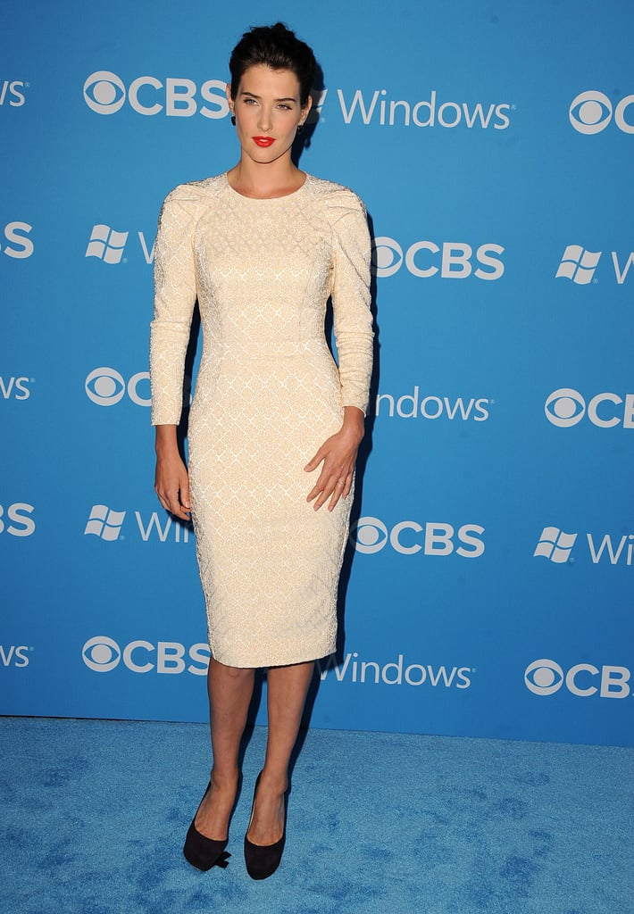 Cobie Smulders wore an ivory dress to the CBS Fall premiere party in LA.