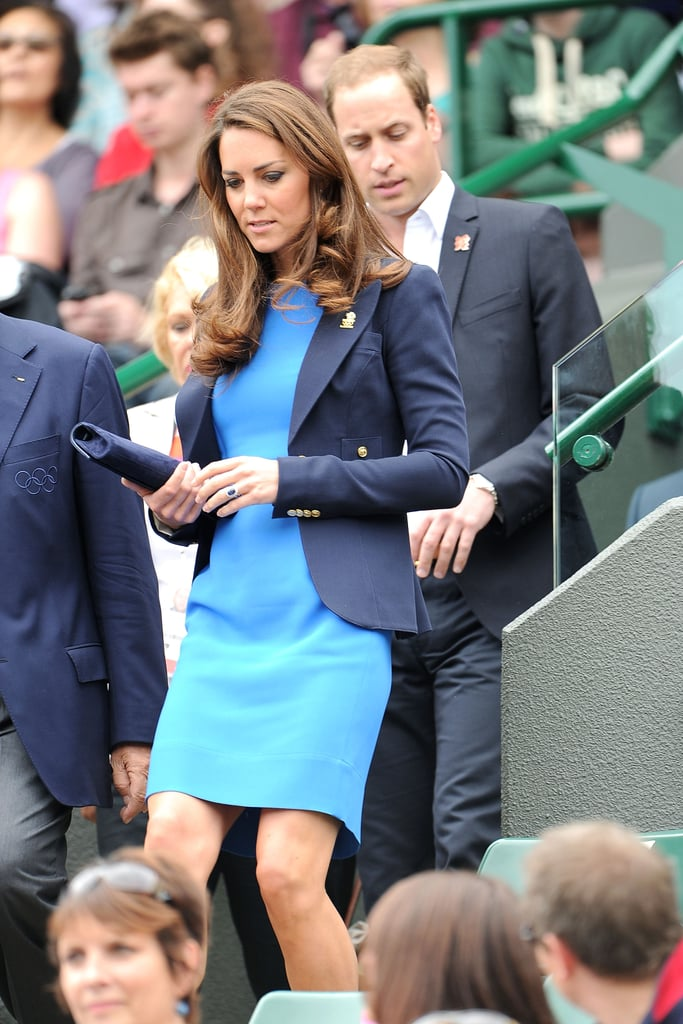 For day six at the London Olympics, Kate Middleton and Prince William stepped out in sophisticated shades of blue.