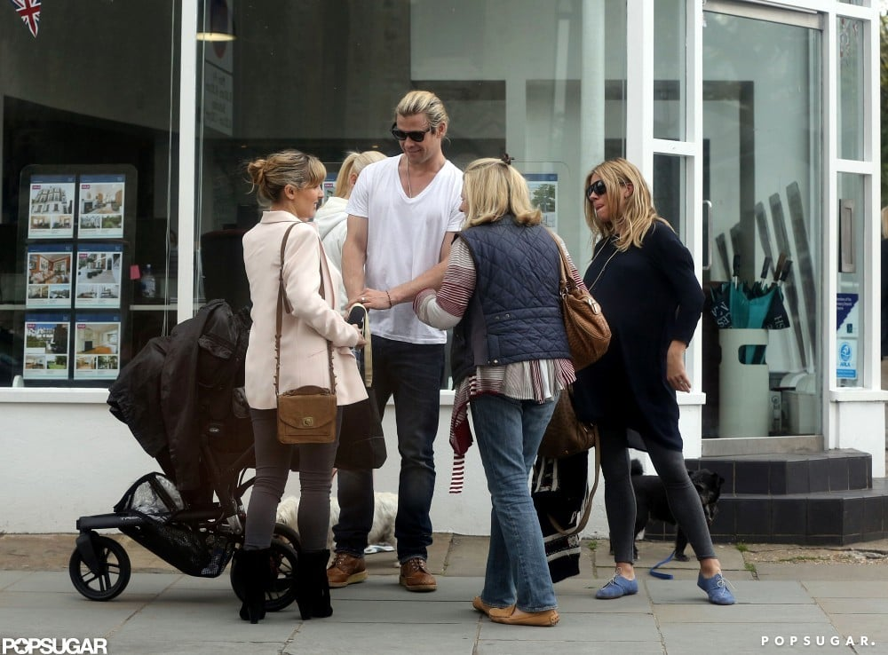 Chris Hemsworth and Elsa Pataky pushed baby India in London and ran into Sienna Miller.