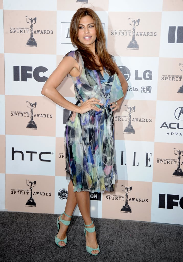 Eva paired a flowy, printed Chanel dress with bright mint sandals at the 2011 Film Independent Spirit Awards.  6933820