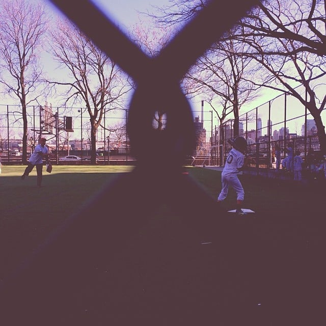Finn Burns brushed up on his baseball swing with his dad, Ed Burns. Source: Instagram user cturlington