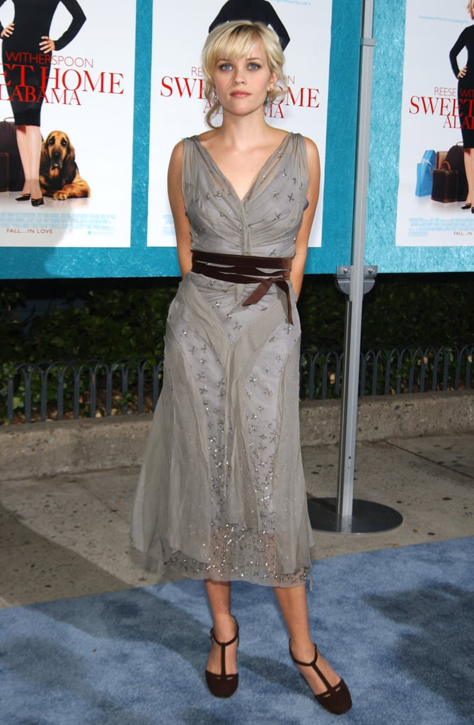 Reese Witherspoon in Gray Dress at 2002 Sweet Home Alabama NYC Premiere