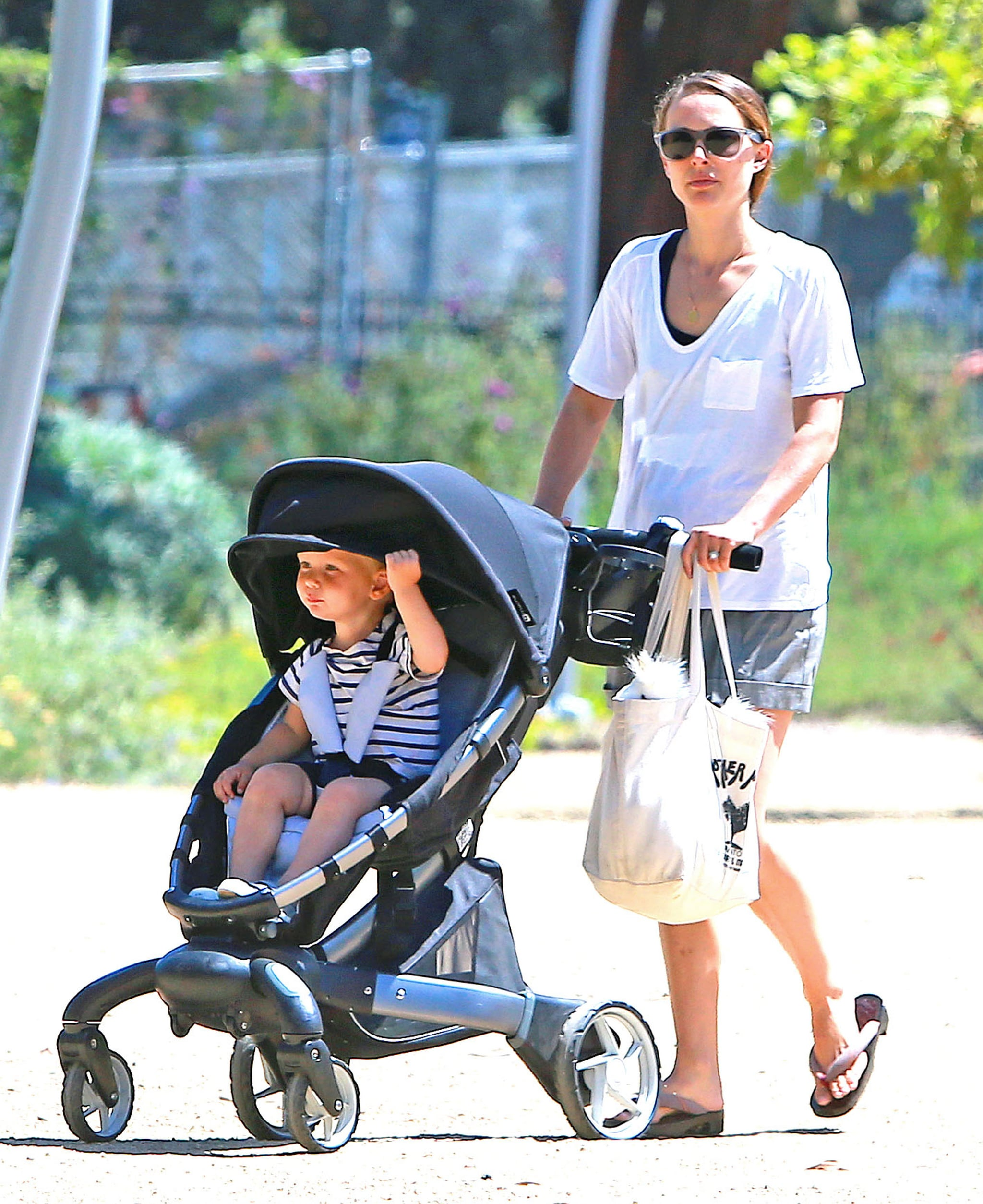 Natalie Portman pushed her son, Aleph, in his stroller.