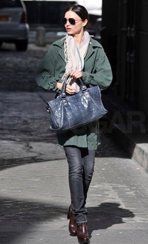 Photo of Miranda Kerr Holding Blue Balenciaga Satchel in Paris