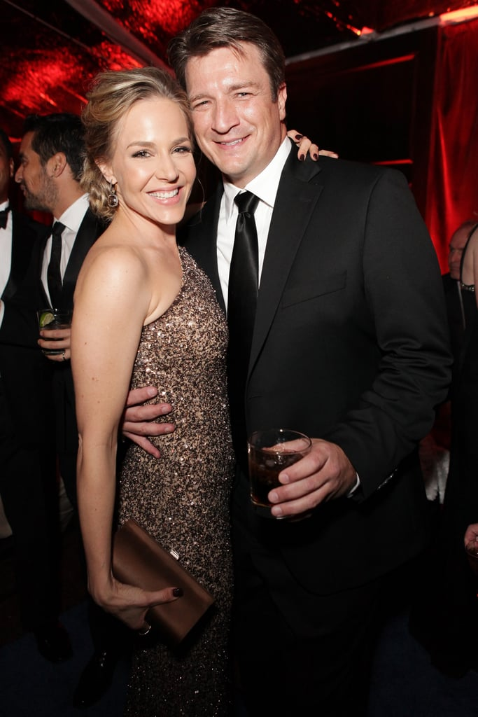 Nathan Fillion made the picture rounds, posing with actress Julie Benz.