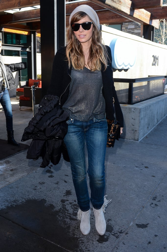 Jessica Biel's Sundance style was all about the accessories: blackout shades, fringe ankle boots, and a leopard crossbody bag. We love her black Joe's moto sweater, too.
