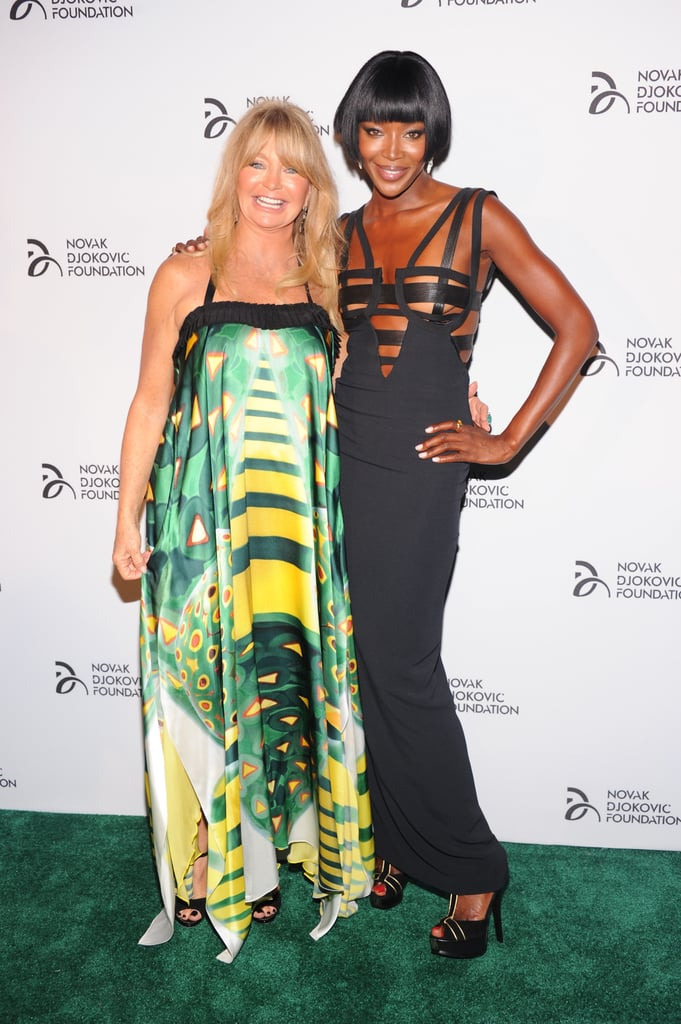 Naomi Campbell and Goldie Hawn got together for the Novak Djokovic Foundation dinner held in NYC.