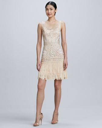 Sue Wong Scoop-Neck Embroidered Fringe Cocktail Dress