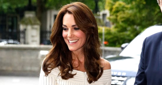 Duchess Kate Gives the Off-the-Shoulder Trend a Try in Ribbed White Dress