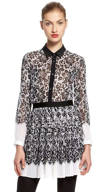 We think this DKNY lace-print blouse ($255) would look fabulous tucked into a black or white pencil skirt. You can also downplay it with dark-wash skinny jeans on the weekend.