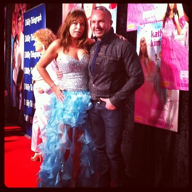 "Gina Riley, aka Kim, posed with designer Alex Perry at the premiere of her new ""filum"", Kath & Kimderella."