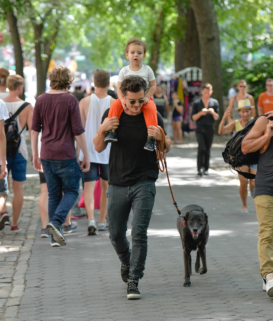 Flynn got a ride on Orlando's shoulders through Central Park on July 7.