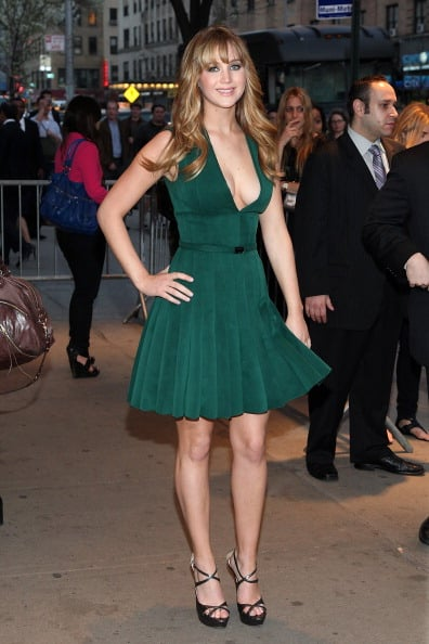 Jennifer Lawrence wore a sexy green dress to an NYC screening of The Hunger Games in March.