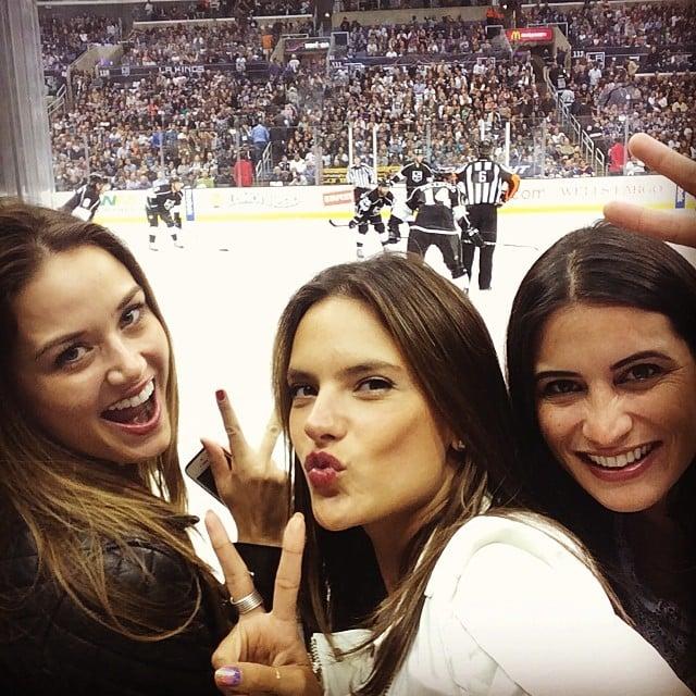 Alessandra Ambrosio had fun at an LA Kings hockey game. Source: Instagram user alessandraambrosio