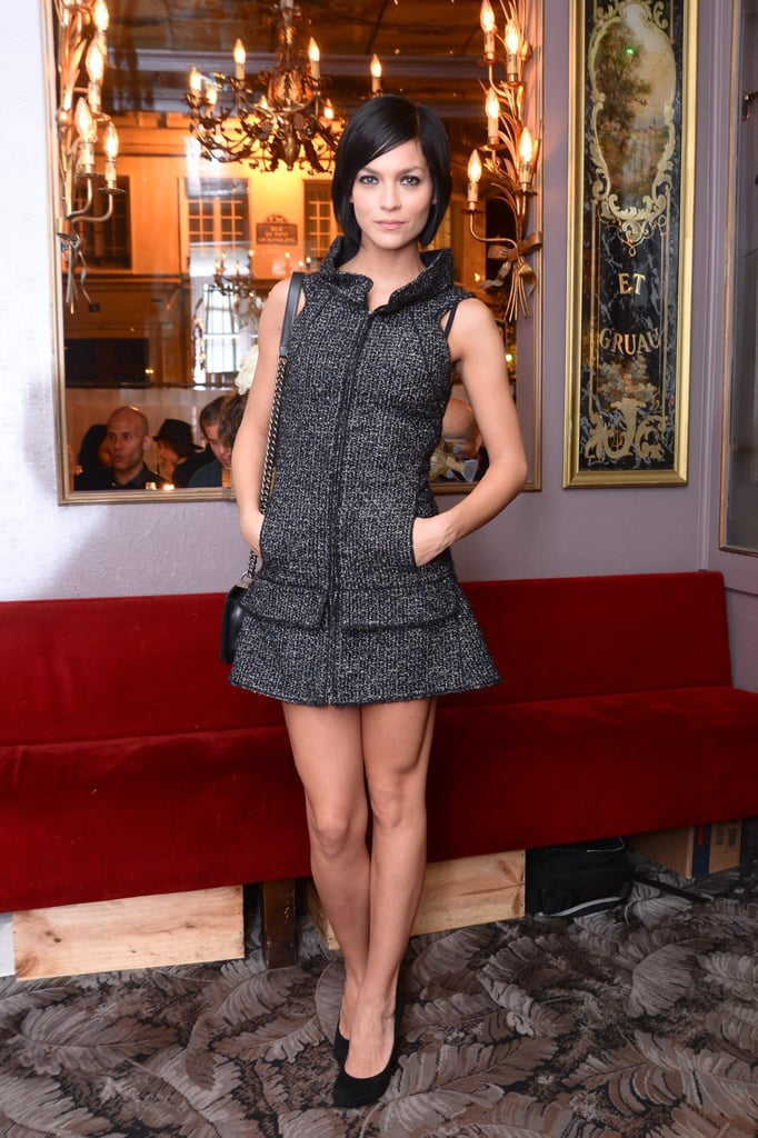 Leigh Lezark brought the drama to Nordstrom's Chez Julien dinner in a sculpted tweed mini.