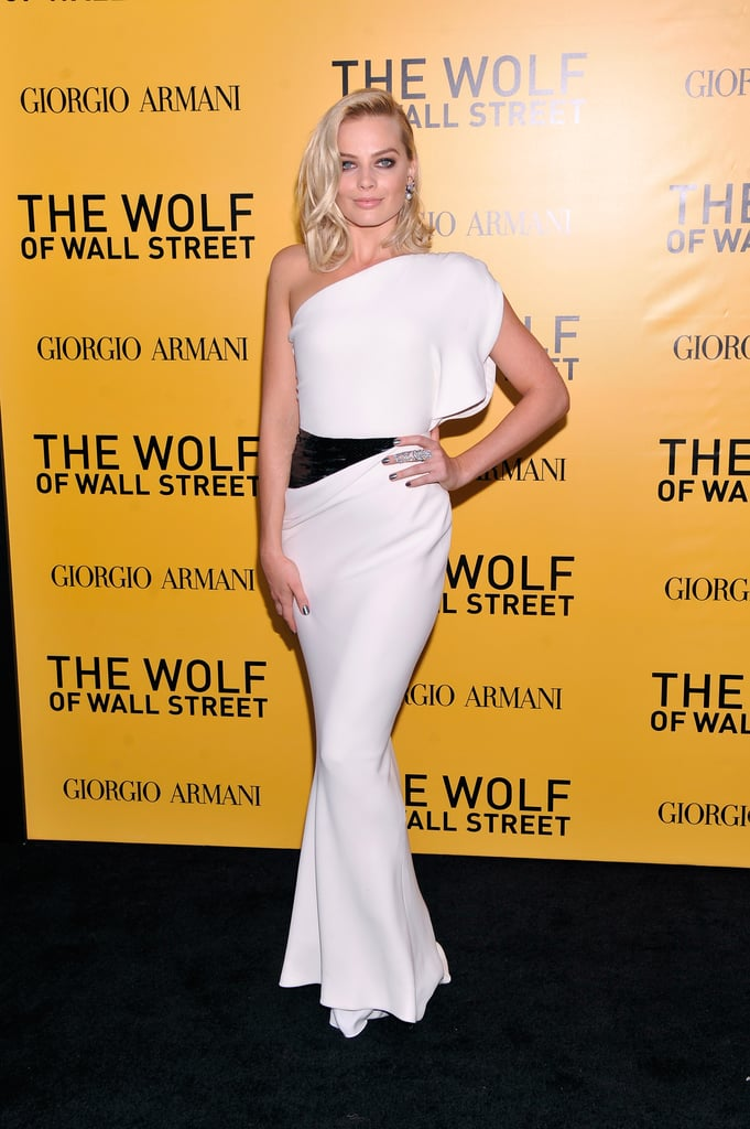 Margot Robbie stunned in a white Armani Privé gown.
