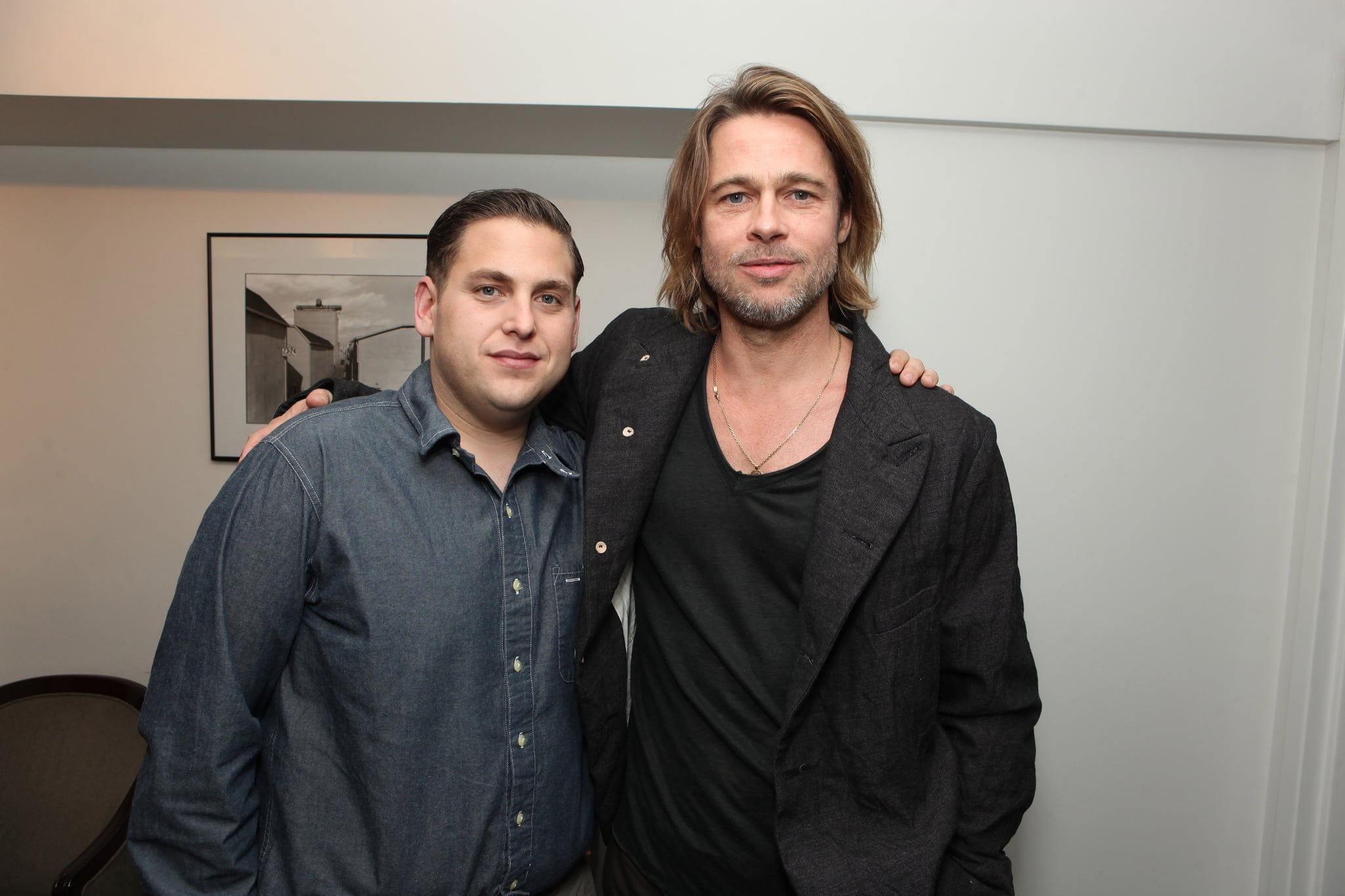 Jonah Hill and Brad Pitt at a Columbia Pictures Moneyball screening at the Cary Grant Theatre at Sony Pictures Studios on Sunday.