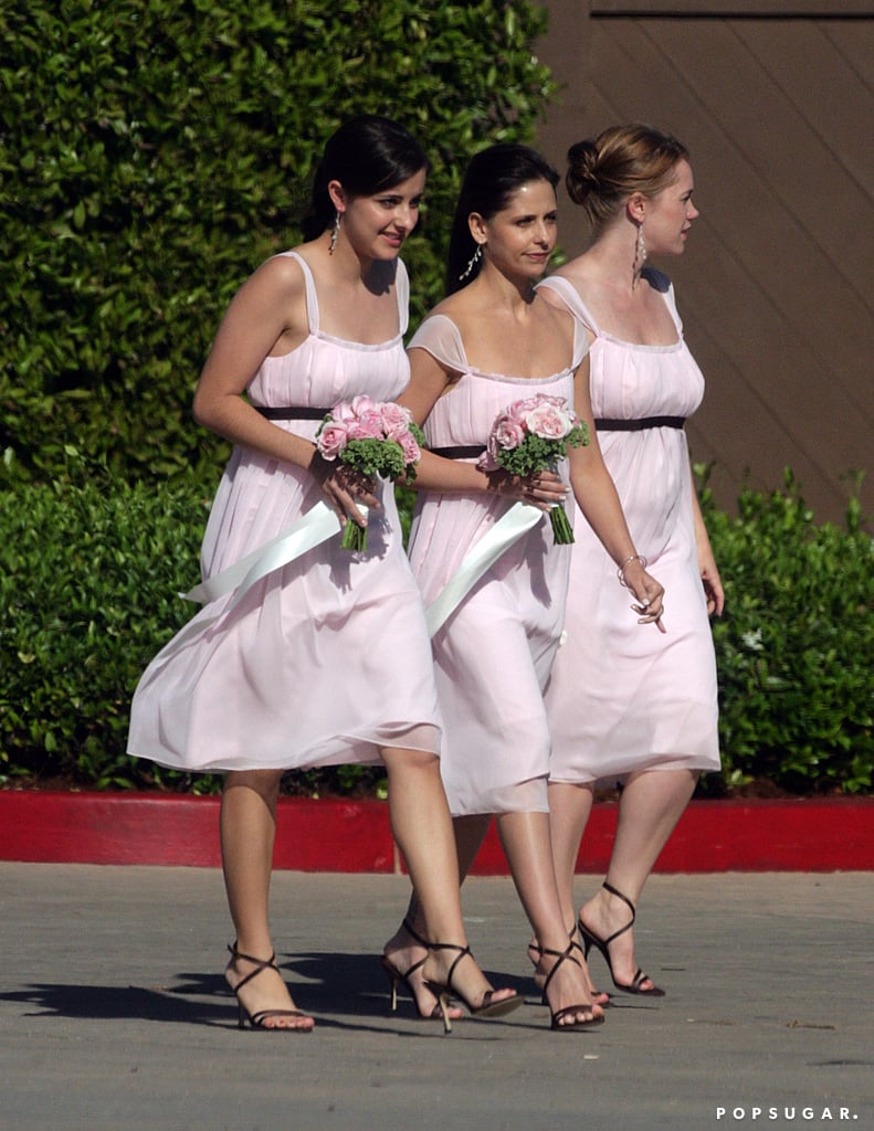 Sarah Michelle served as a pal's bridesmaid at a wedding in Santa Monica, CA in August 2006.