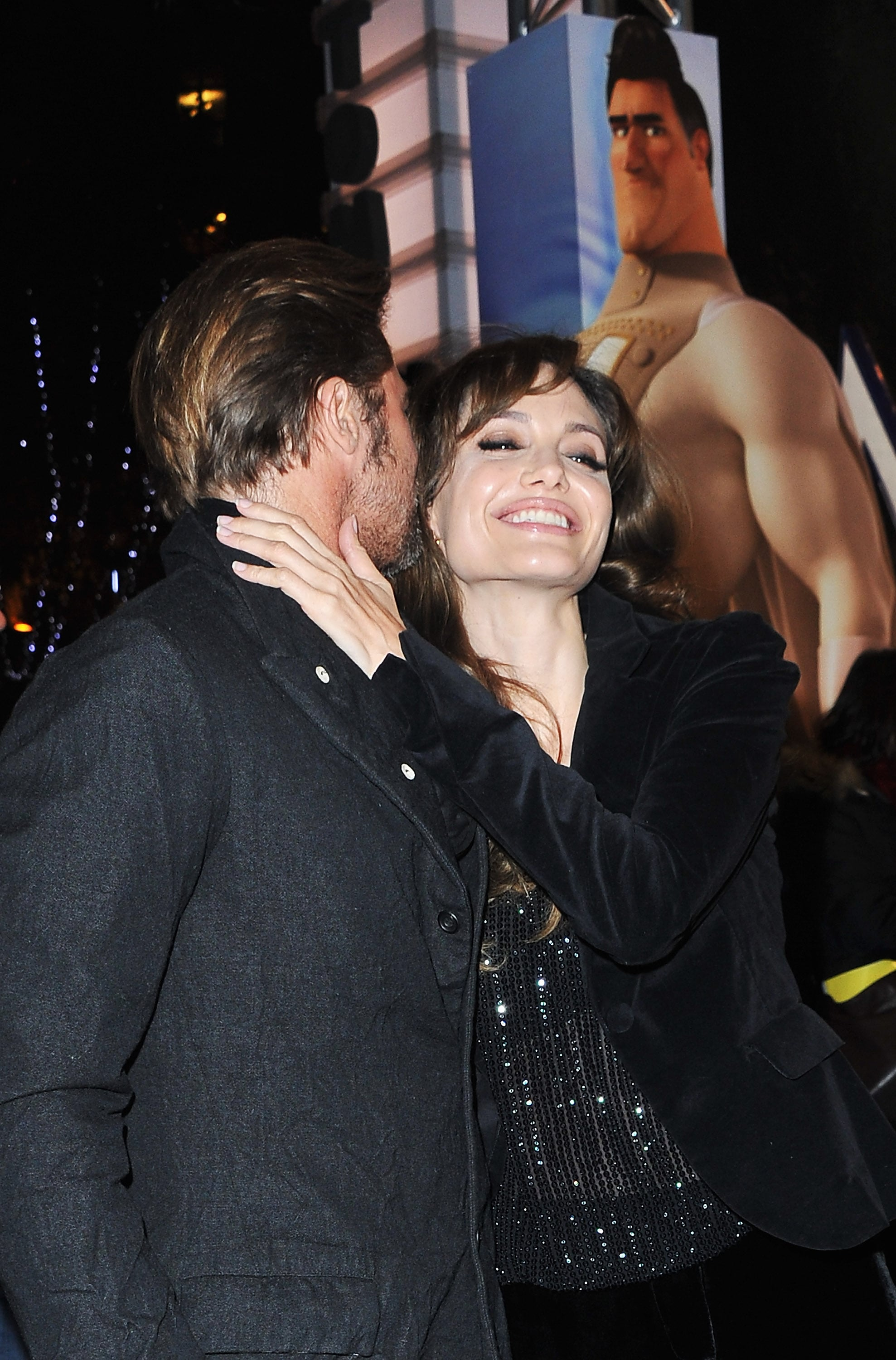 The couple shared a flirty moment at the Paris premiere of Brad's animated film Megamind in November 2010.