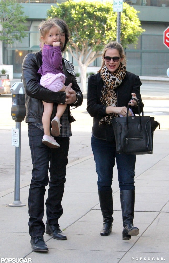 Ben Affleck gave his youngest daughter a lift as the family celebrated Seraphina Affleck's third birthday in LA in January.