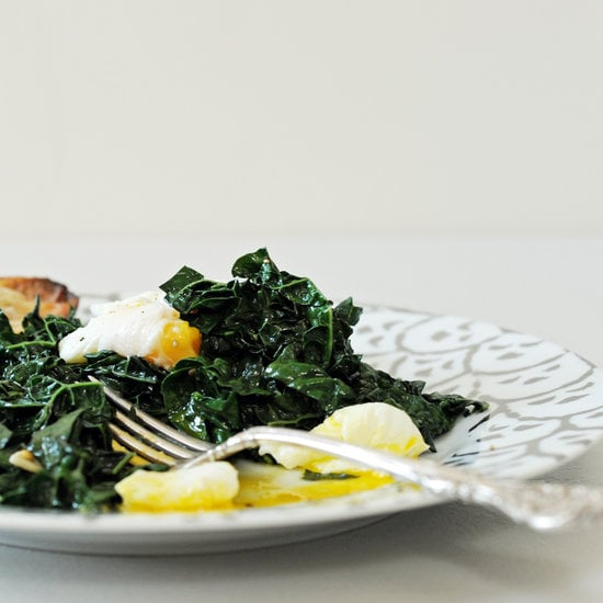 Saturday: Spicy Garlic Kale With Poached Eggs