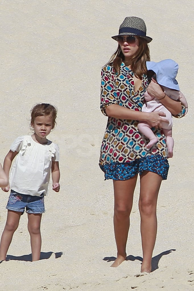 Jessica Alba carried Haven around Cabo with Honor by her side.