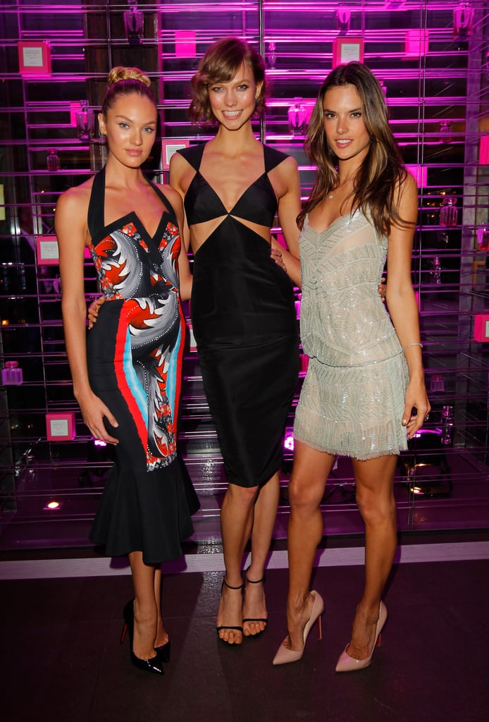 Candice Swanepoel, Karlie Kloss and Alessandra Ambrosio linked up to celebrate the Victoria's Secret 2013 swim line at a party in LA.