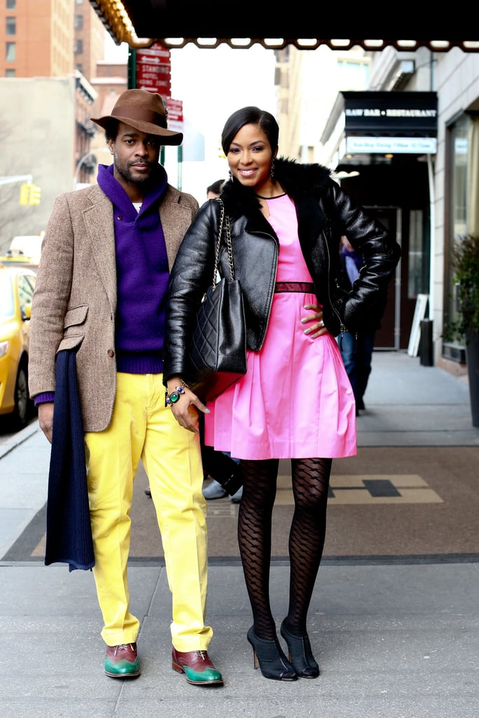 A brightly clad duo proved that a little color goes a long way.