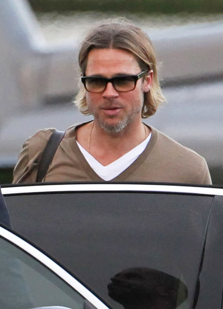 Brad Pitt on his way to pick up Angelina Jolie outside of London.