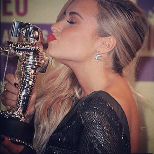 Demi Lovato shared a moment with her Moonman. Source: Instagram user demilovat