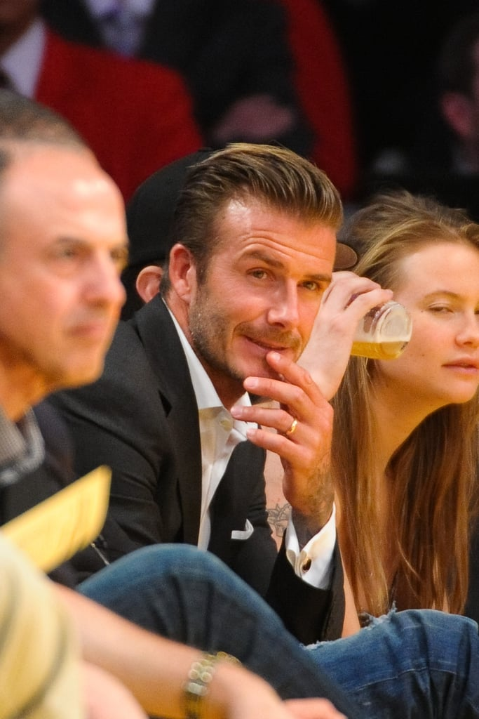David Beckham looked hot at the Lakers game.
