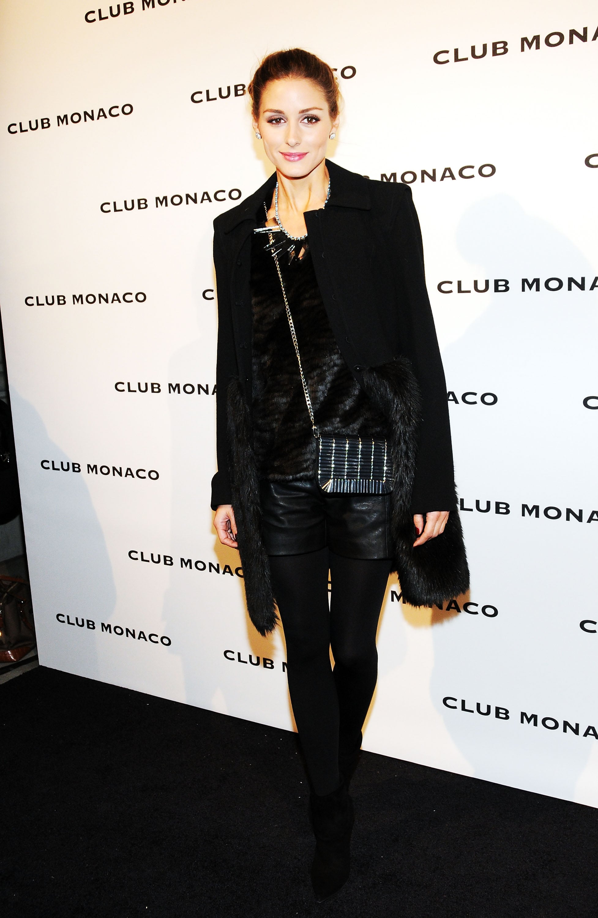 While celebrating Club Monaco's store opening, Olivia opted for cool, all-black layers.