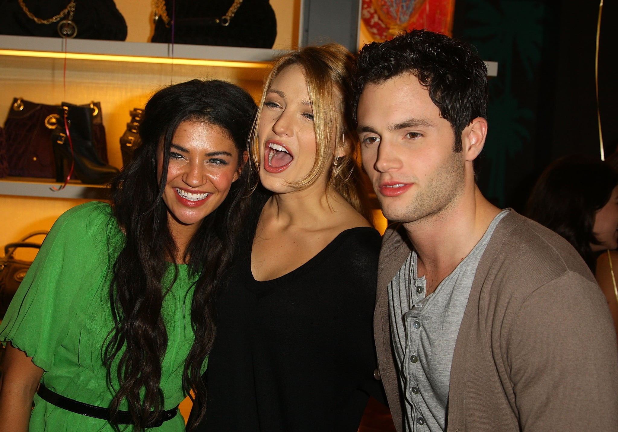Jessica Szohr hung out with pals Blake Lively and Penn Badgley at the opening party for Juicy Couture's Fifth Avenue flagship store in November 2008.