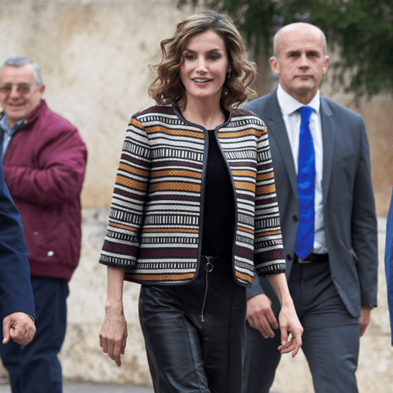 Queen Letizia's Cropped Leather Pants May 2016