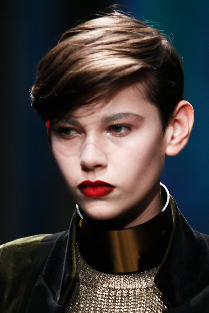"""This three-dimensional lip was created by pairing a collection of MAC lipsticks and liners, including fan-favorite Ruby Woo. """"You probably have all of these colors in your arsenal already,"""" Soleimani said. """"It's an incredibly wearable look that you can copy at home."""""""
