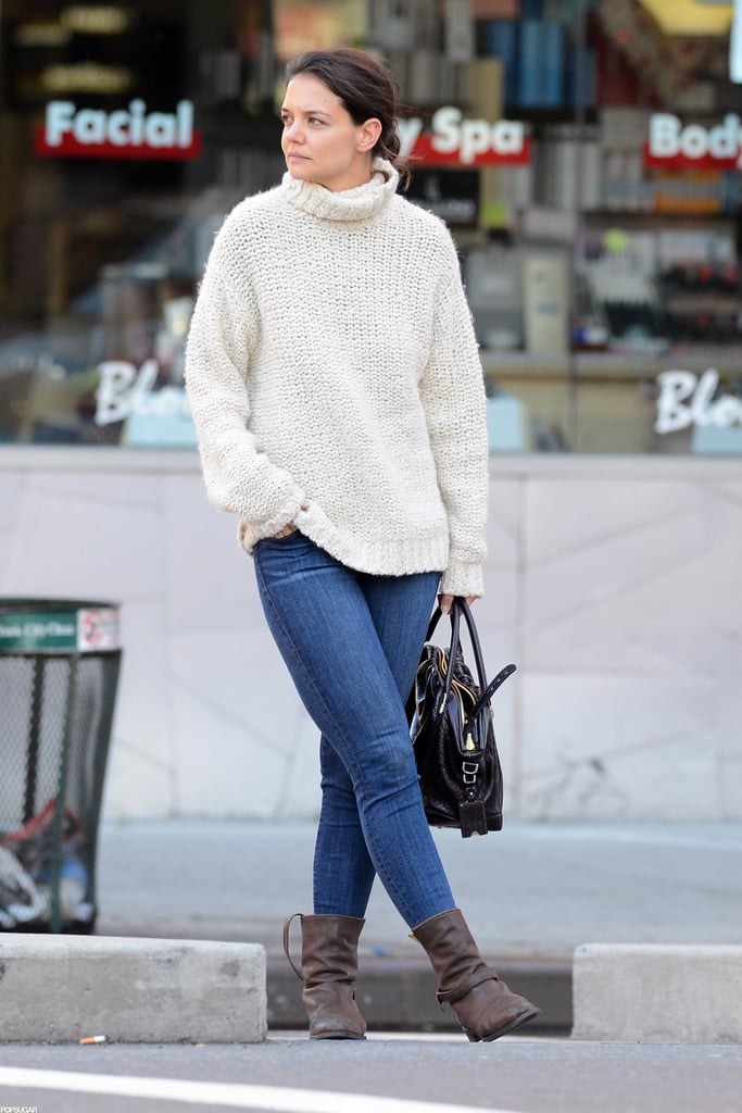 Katie Holmes stopped on the street in NYC.