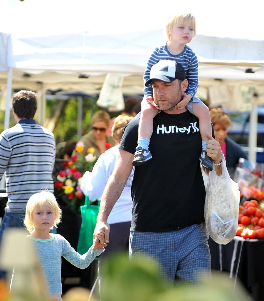 Liev Schreiber took his sons to the farmers market in Brentwood.