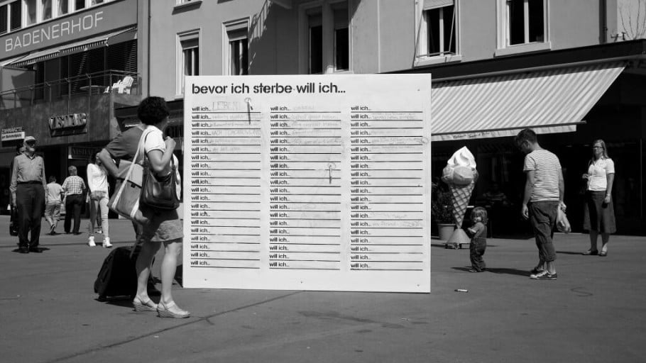 This wall in Baden, Switzerland, was erected in a public square near the local train station last August. Photo courtesy of BeforeIDie.com