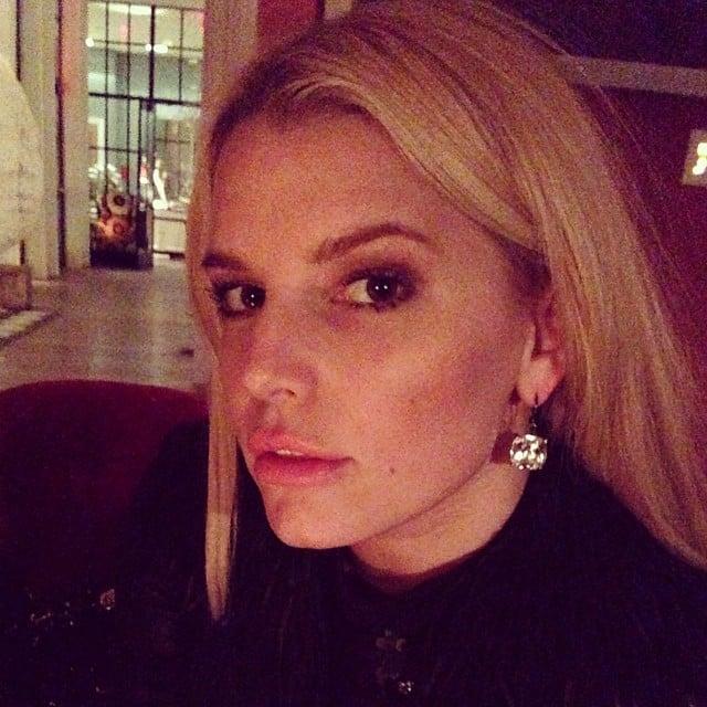 Jessica Simpson showed off her Lanvin dangle drop earrings. Source: Instagram user jessicasimpson1111