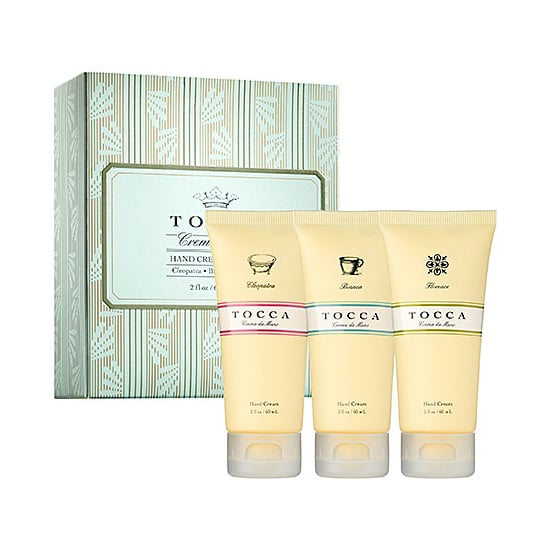 With the Tocca Hand Cream Trio ($20), you get do-good ingredients (avocado oil, jojoba seed oil, and chamomile), as well as smell-good body care.