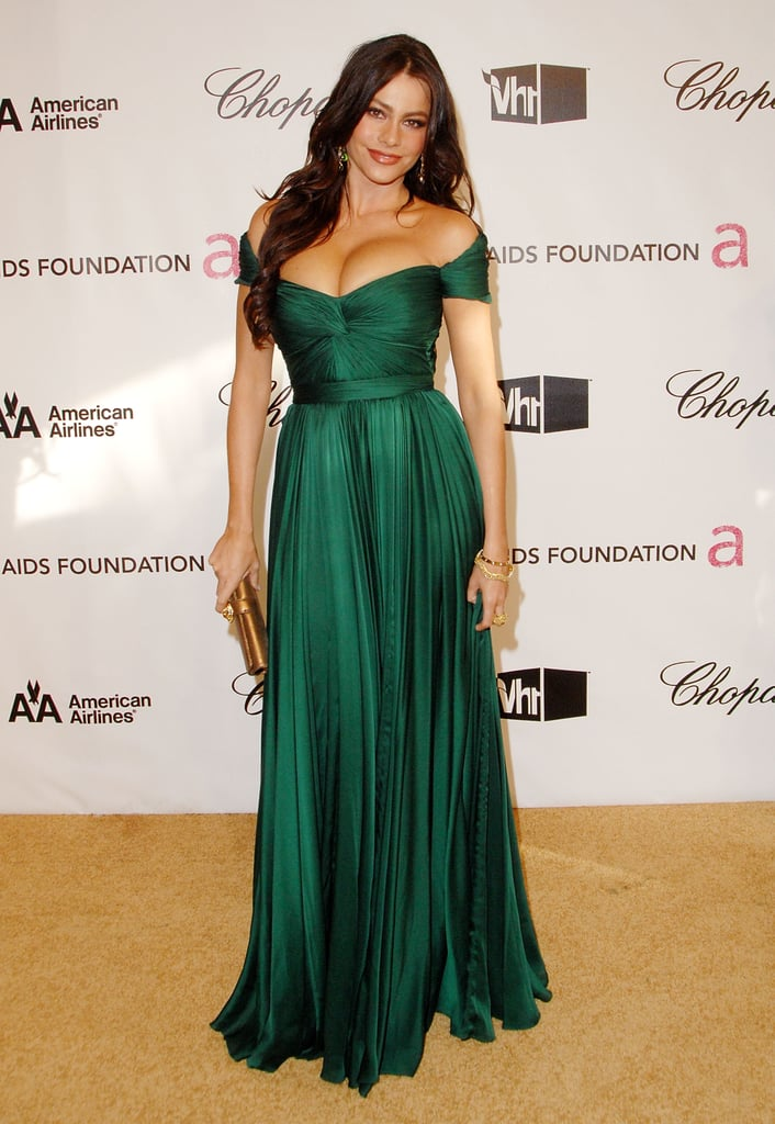 In 2008, Vergara had a princess moment at Elton John's Academy Awards After Party, posing in a flowing off-the-shoulder emerald gown with bronze accessories.