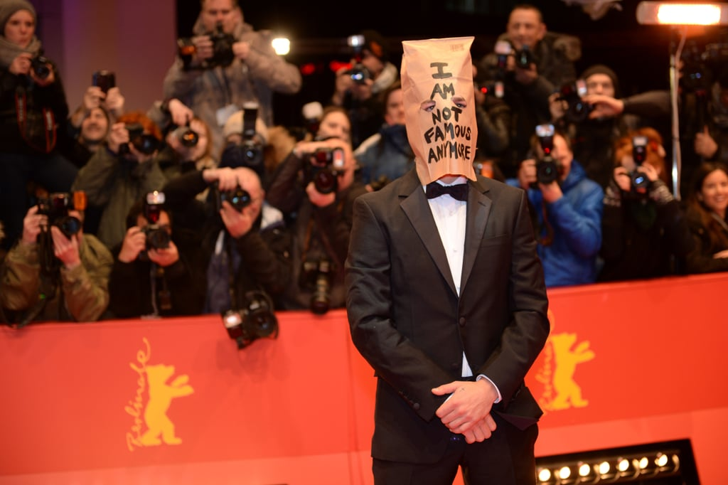 Shia LaBeouf wore a paper bag on his head while promoting his latest movie, the nudity-heavy Nymphomaniac, at the Berlin International Film Festival on Sunday.