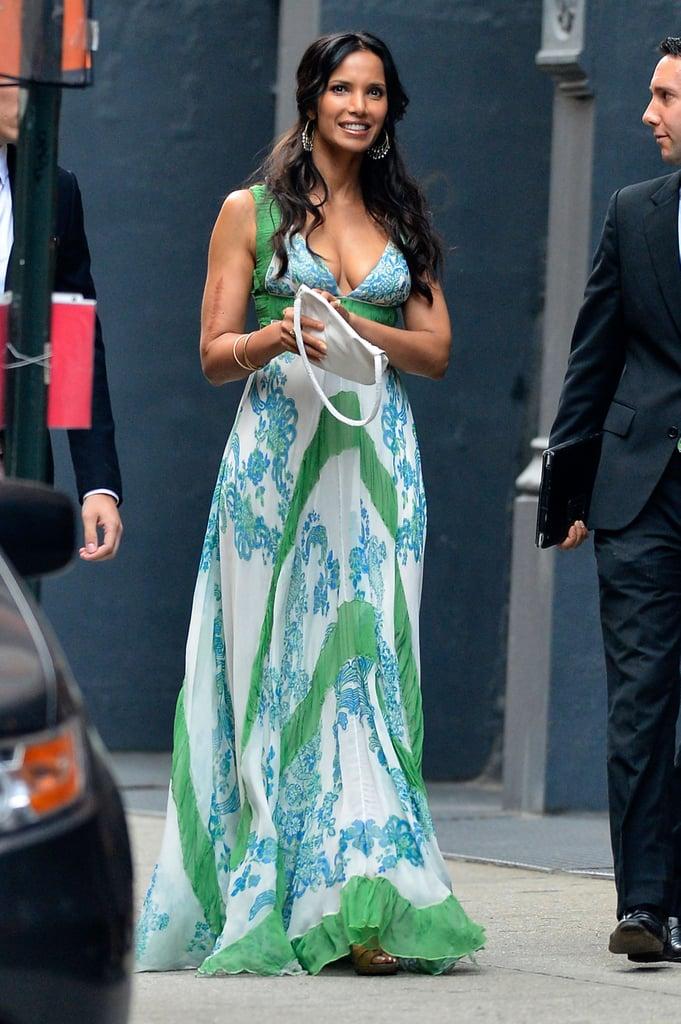 Padma Lakshmi went floral for Jesse Tyler Ferguson's Big Apple nuptials in July 2013.