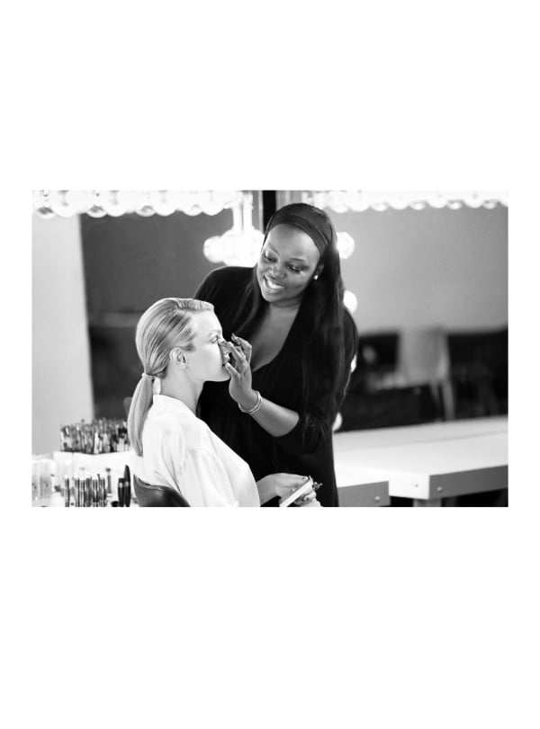 Pat McGrath works on the Covergirl shoot with model Jess Stam. Twitter User: patmcgrathreal