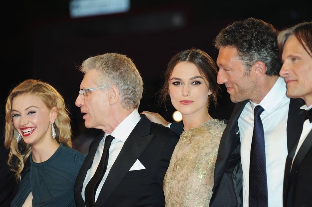 Sarah Gadon, David Cronenberg, Keira Knightley, Vincent Cassel, and Viggo Mortensen in Venice.