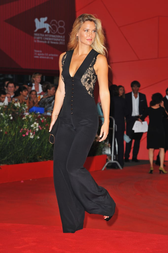 Bar Refaeli in a pantsuit on the red carpet.