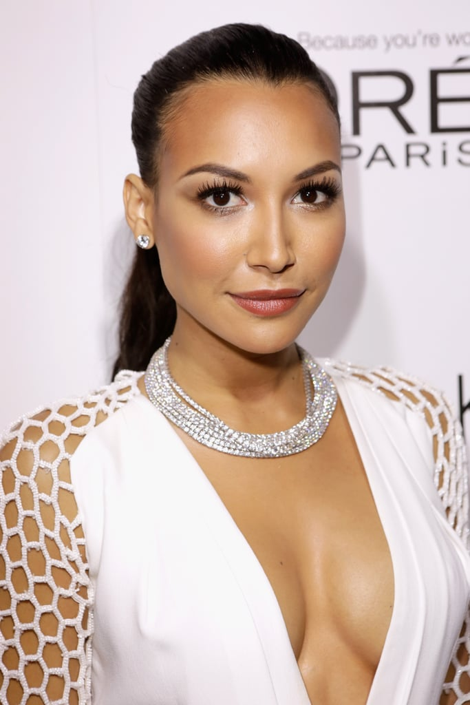Naya Rivera's sexy ponytail not only showed off her simple stud earrings but also allowed her sparkling necklace to shine.