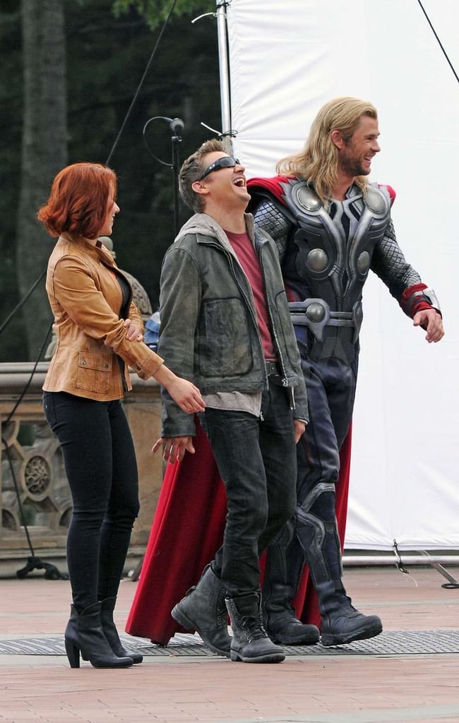 Jeremy Renner laughed with Scarlett Johansson and Chris Hemsworth.