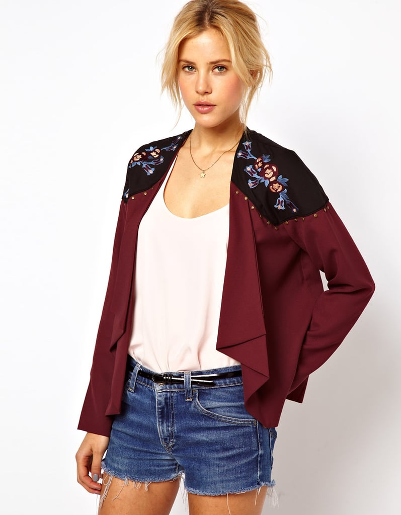 We love the cool Western-tinged vibe of this ASOS floral-embroidered jacket ($93).