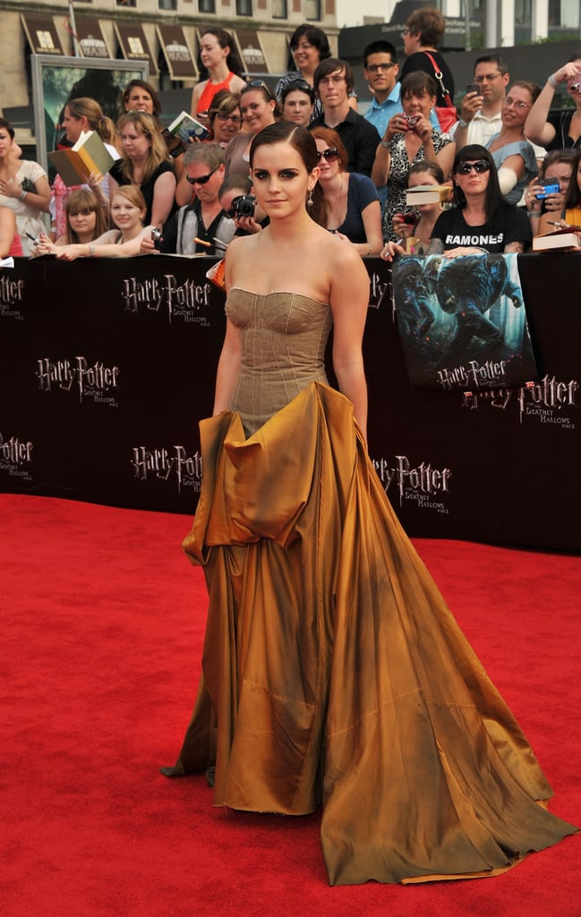 Emma Watson in Bottega Veneta at Harry Potter and the Deathly Hallows Part 2 premiere in NYC.